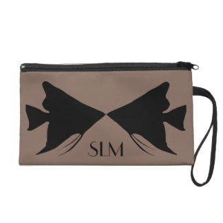 Monogram Black Angelfish on Taupe Brown Wristlet Purse