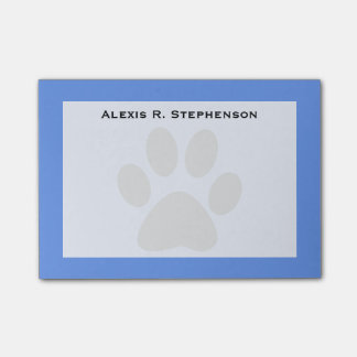 Monogram Black Animal Paw Print Cornflower Blue Post-it Notes