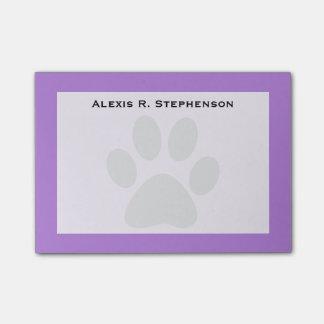 Monogram Black Animal Paw Print Lavender Purple Post-it Notes