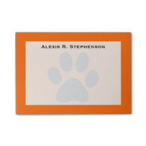 Monogram Black Animal Paw Print Orange Post-it Notes
