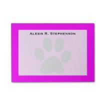 Monogram Black Animal Paw Print Pink Post-it® Notes