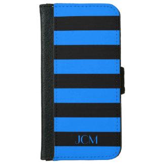 Monogram Black/Azure Blue Stripe Wallet Phone Case For iPhone 6/6s