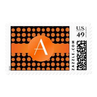 Monogram black basketballs stamp