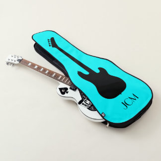 Monogram Black Bass Guitar Silhouette on Aqua Blue Guitar Case