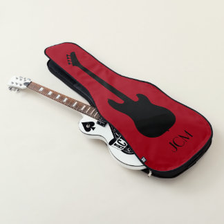 Monogram Black Bass Guitar Silhouette on Dark Red Guitar Case