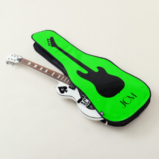 Monogram Black Bass Guitar Silhouette on Lime Guitar Case