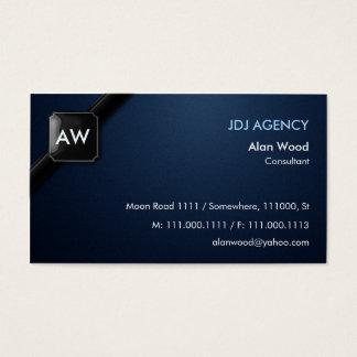 Monogram Black Blue Business Card