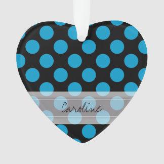Monogram Black Blue Chic Polka Dot Pattern