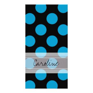Monogram Black Blue Chic Polka Dot Pattern Card