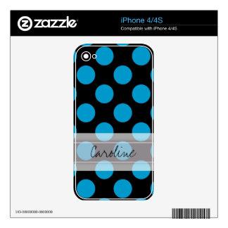 Monogram Black Blue Chic Polka Dot Pattern Skin For iPhone 4