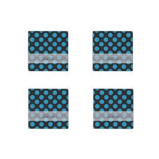 Monogram Black Blue Chic Polka Dot Pattern Stone Magnet