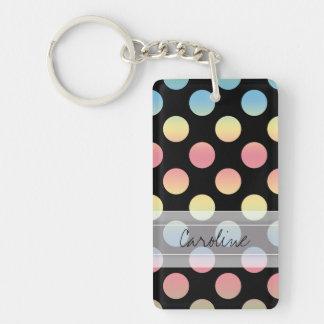 Monogram Black Blue Yellow Pink Polka Dot Pattern Double-Sided Rectangular Acrylic Keychain
