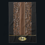 "Monogram Black, Brown and Gold Jaguar Animal Print Kitchen Towel<br><div class=""desc"">Monogram Black, Brown and Gold Jaguar Animal Print Towel. 100% Customizable. Ready to Fill in the box(es) or Click on the CUSTOMIZE button to add, move, delete or change any of the text or graphics. Made with high resolution vector and/or digital graphics for a professional print. NOTE: (THIS IS A...</div>"