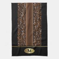 Monogram Black, Brown and Gold Jaguar Animal Print Kitchen Towel