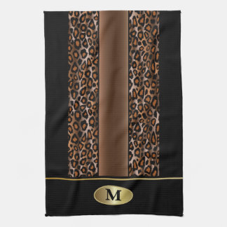 Monogram Black, Brown and Gold Jaguar Animal Print Kitchen Towel