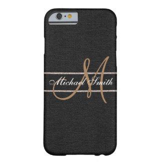 Monogram Black Burlap Linen Rustic Jute Barely There iPhone 6 Case