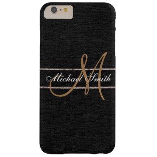 Monogram Black Burlap Linen Rustic Jute Barely There iPhone 6 Plus Case