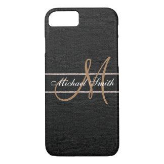 Monogram Black Burlap Linen Rustic Jute iPhone 7 Case