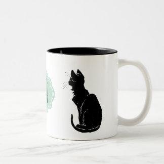 Monogram Black Cat Art Nouveau Chat Noir Steinlen Two-Tone Coffee Mug