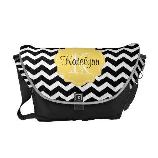 Monogram Black Chevron Diaper Bag Messenger Bag