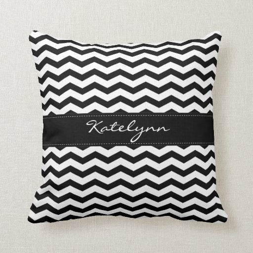 Monogram Black Chevron Zigzag Print Pillows