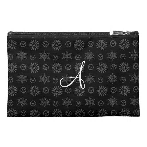 Monogram black christmas stars snowflakes travel accessory bag