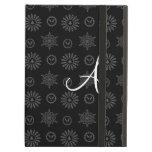 Monogram black christmas stars snowflakes iPad case