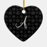 Monogram black christmas stars snowflakes ornaments