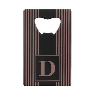 Monogram Black/Cognac Brown Pinstripe Credit Card Bottle Opener