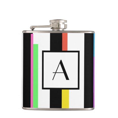 Monogram Black Colorful Stripes Flask