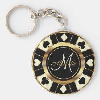 Monogram Black, Cream and Gold Las Vegas Style Keychain