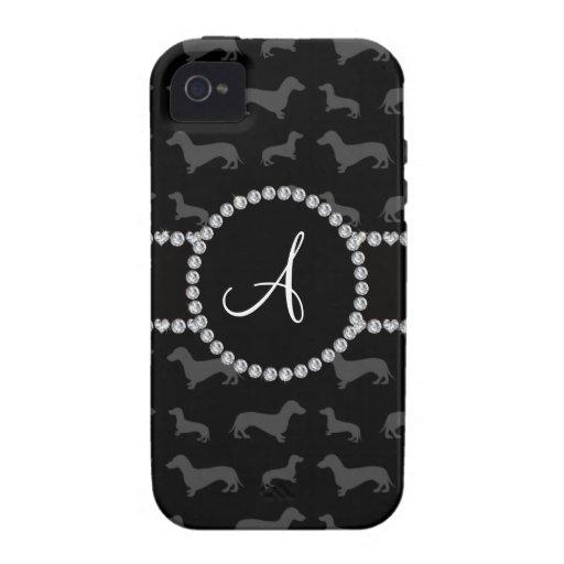 Monogram black dachshund vibe iPhone 4 covers