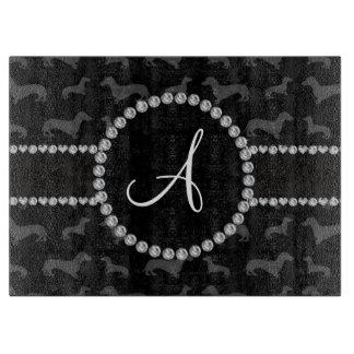 Monogram black dachshund cutting board