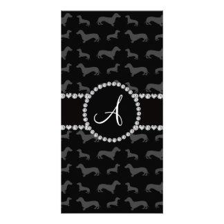Monogram black dachshund personalized photo card