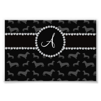 Monogram black dachshund photo art