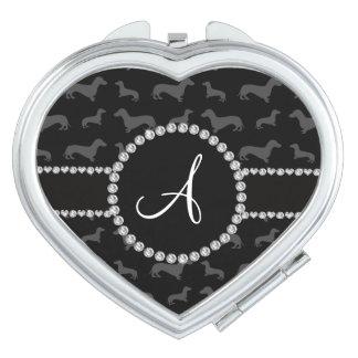 Monogram black dachshund makeup mirror