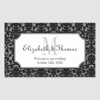 Monogram black damask frame out of town gift bag rectangle stickers