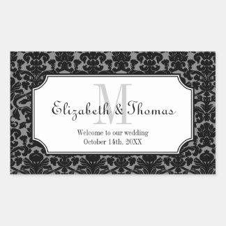 Monogram black damask frame out of town gift bag rectangular sticker
