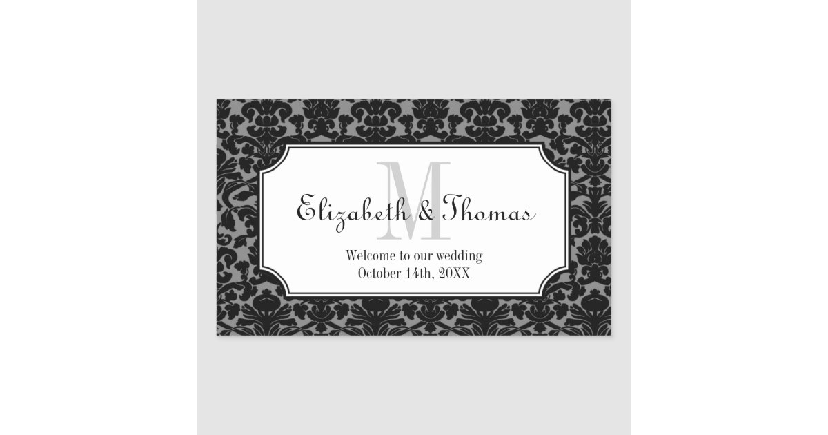 Monogram black damask frame out of town gift bag rectangular sticker ...