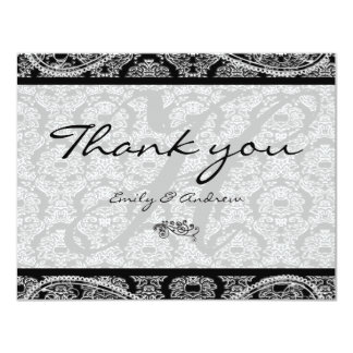Monogram Black Damask Paisley Wedding Thank You Card