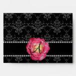 Monogram black damask pink rose envelope