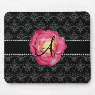 Monogram black damask pink rose mouse pad
