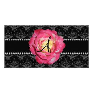 Monogram black damask pink rose photo card