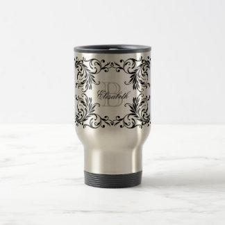 Monogram Black Damask Travel Mug