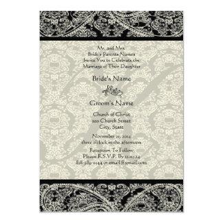 Monogram Black Damask Wedding Invitation