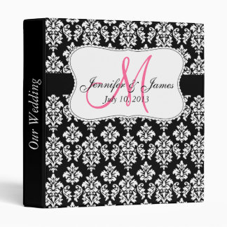 Monogram Black Damask Wedding Planner Binders