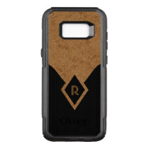 Monogram Black Dark Grey Pinstripe Tan Elegant OtterBox Commuter Samsung Galaxy S8  Case