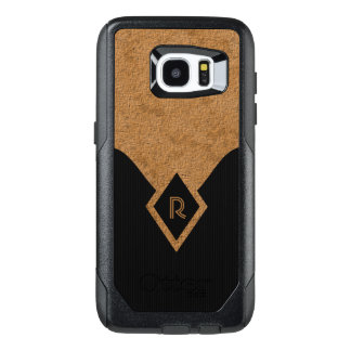 Monogram Black Dark Grey Pinstripe Tan Elegant OtterBox Samsung Galaxy S7 Edge Case