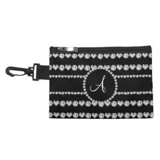Monogram black diamond hearts stripes accessory bag