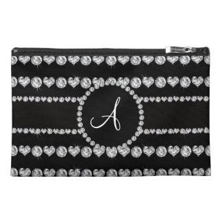Monogram black diamond hearts stripes travel accessory bag